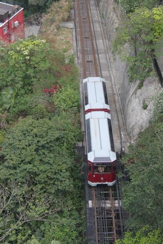 Tram dilihat dari atas the peak