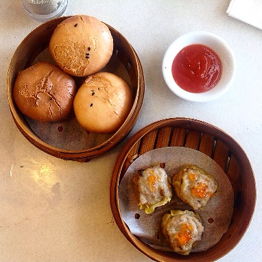 steamed chicken meat siewmai & fried bun with salty egg's paste - Rp. 20.000,- each