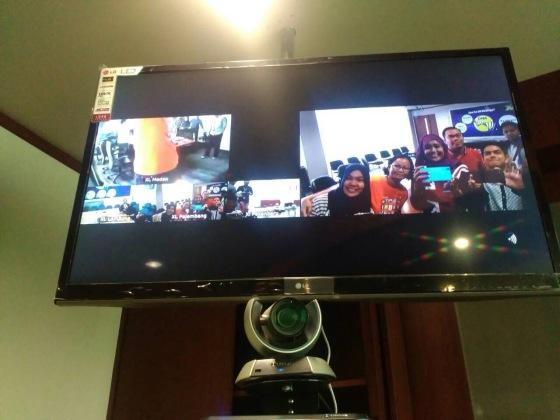 Teleconference di 4 Kota: Palembang, Medan, Pekanbaru dan Bandar Lampung Pic: @suzannita